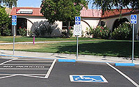 Parking spaces for physically disabled.